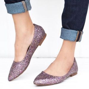"""Doris"" Fuchsia Glitter Slip On Pointy Toe Flats"